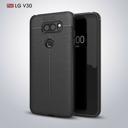 For LG V30 Shockproof Leather Skin Soft Rubber TPU Phone Case Cover