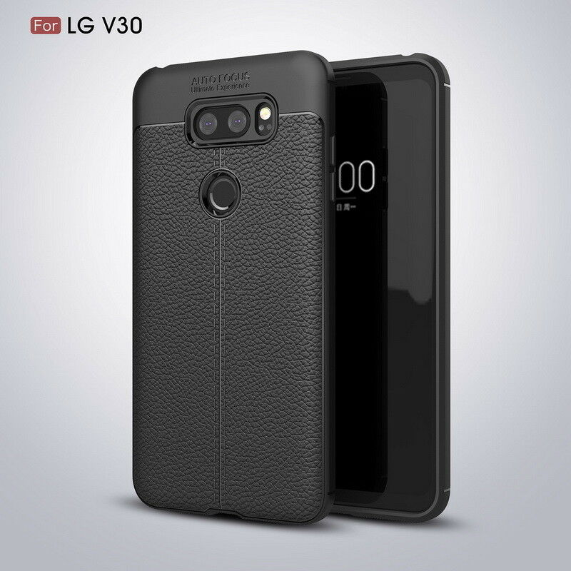 For LG V30 Plus Shockproof Leather Skin Soft Rubber TPU Phone Case Cover
