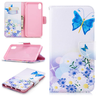 Samsung Galaxy A50 Wallet Leather Case Flip Magnetic Card Slot Cover-Blue Butterfly