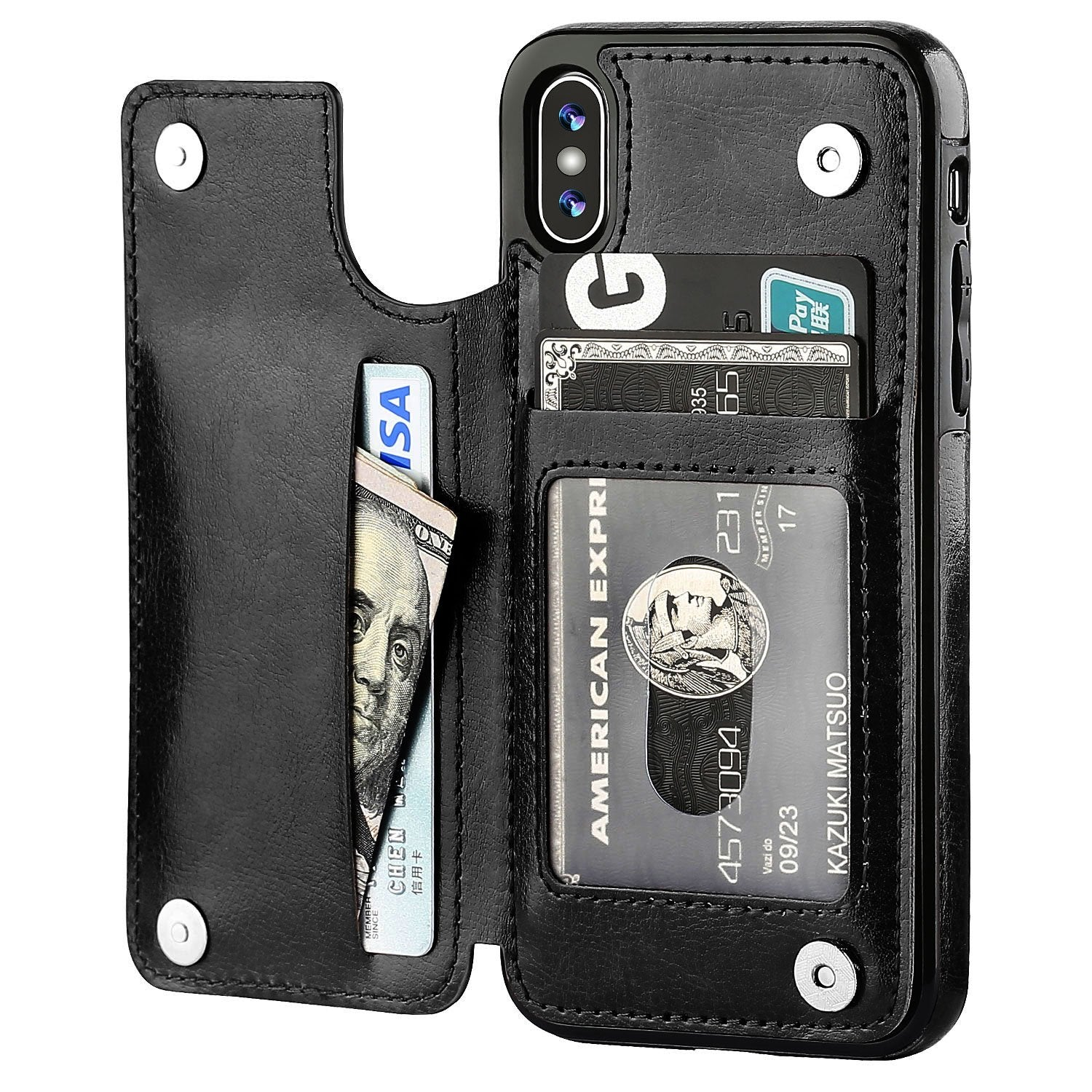 iPhone 8 Leather Wallet Case Magnetic Flip Card Shockproof Cover