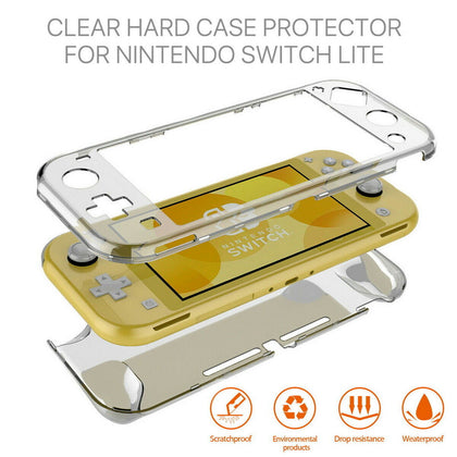 For Nintendo Switch Lite Transparent Clear Shockproof Protective Hard Case Cover