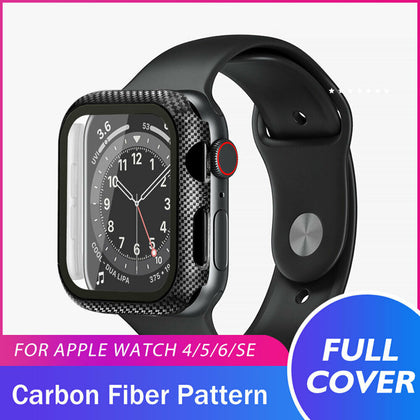 Apple Watch Series SE/6/5/4 44mm 360° TPU Carbon Fiber Full Cover Tempered Glass Case