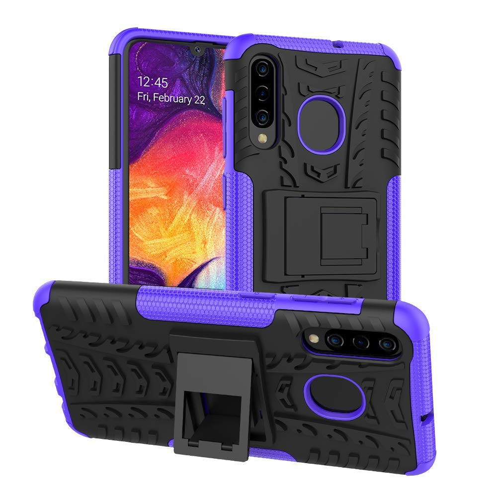 Samsung Galaxy A50 Heavy Duty Tough Shockproof Strong Rugged Anti-Knock Kids Protective Case Cover (Purple)