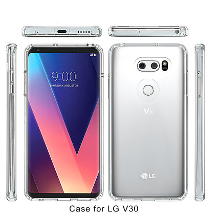 LG V30 Case Cover, Slim Shock Absorbing TPU Crystal Clear Bumper