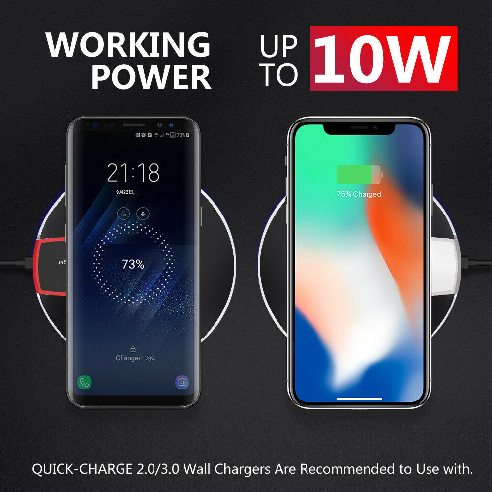 Qi Wireless Charger Charging Pad For iPhone 11 Pro XS XR Samsung S9 S10 Note 10