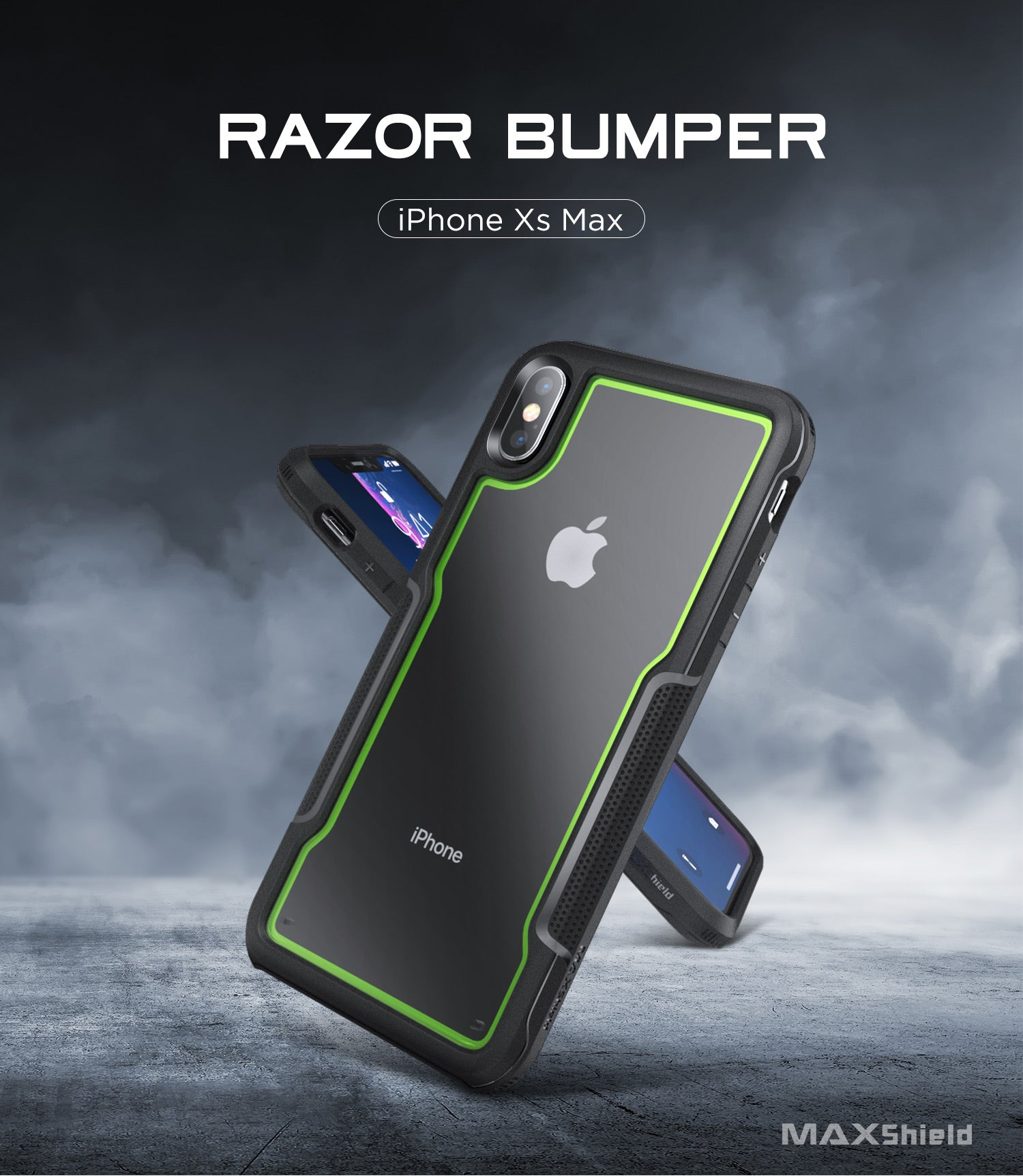 iPhone Xs Max Case, MAXShield [Razor Series] Premium Slim Heavy Duty Protection Armor Shockproof Case Cover for iPhone Xs Max 6.5 Inch 2018 Release(Green)