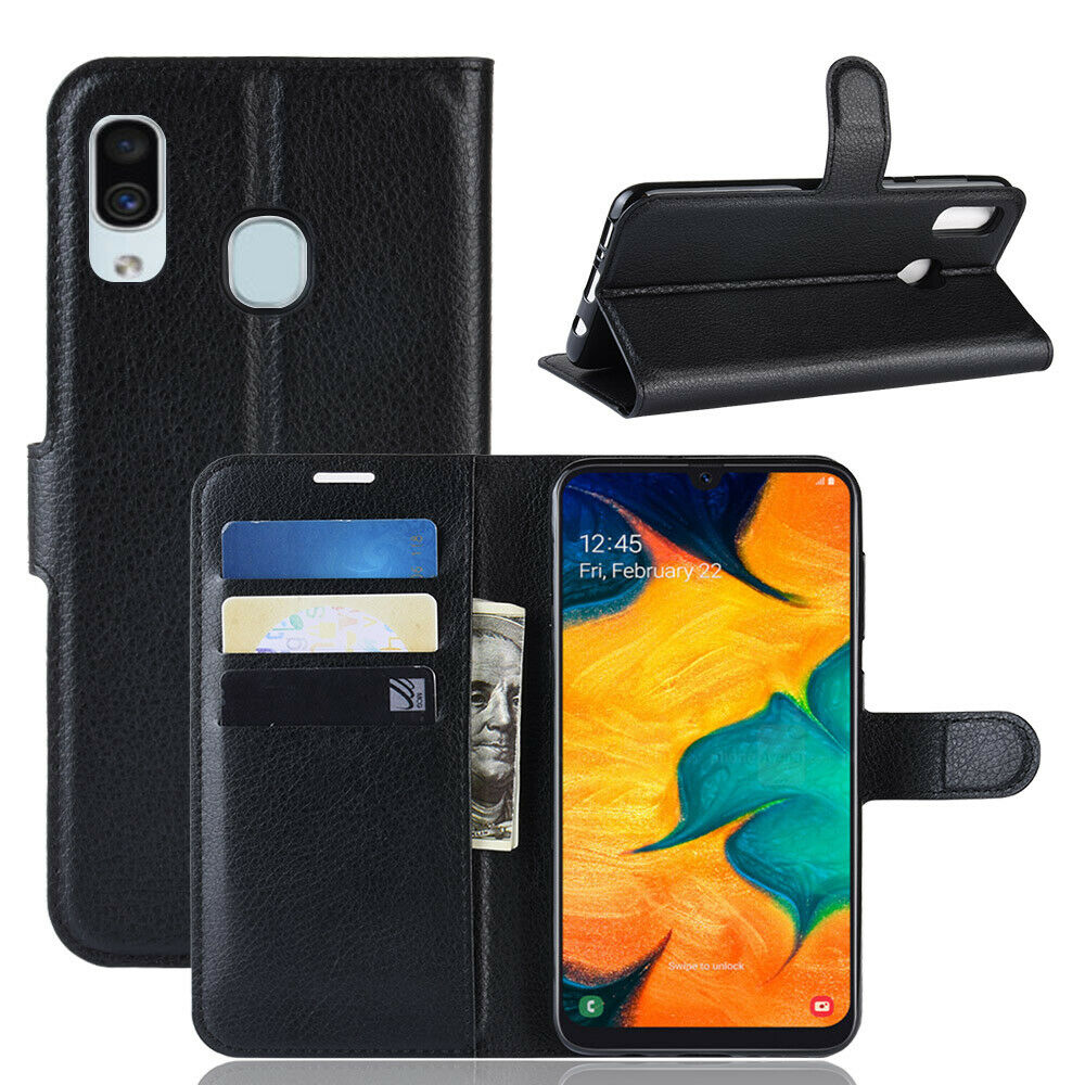 Samsung Galaxy A30 Wallet Leather Case Flip Magnetic Card Slot Cover-Black