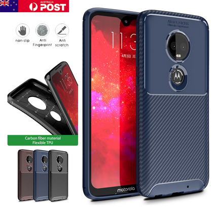 Motorola Moto G7 Plus Shockproof Carbon Fiber soft Case Cover
