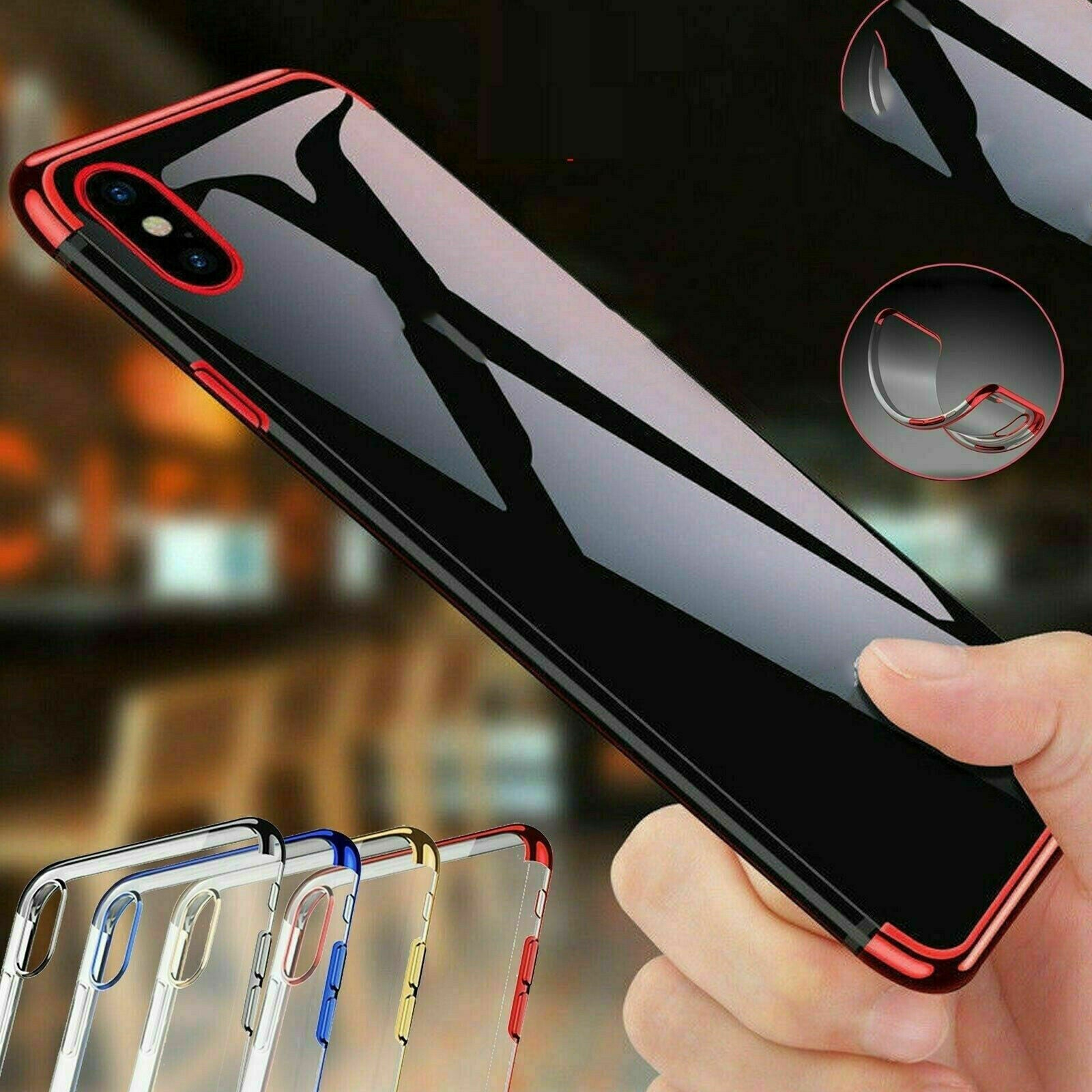 For LG Q60 Soft Electroplated Clear Back Phone Case Cover+Screen Protector
