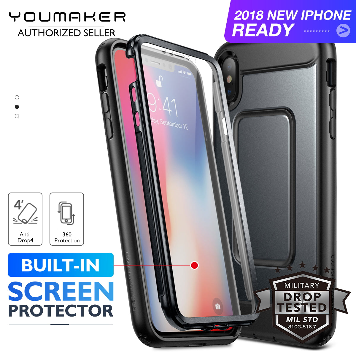 YOUMAKER iPhone XR Heavy Duty Shockproof Full-body Case Cover