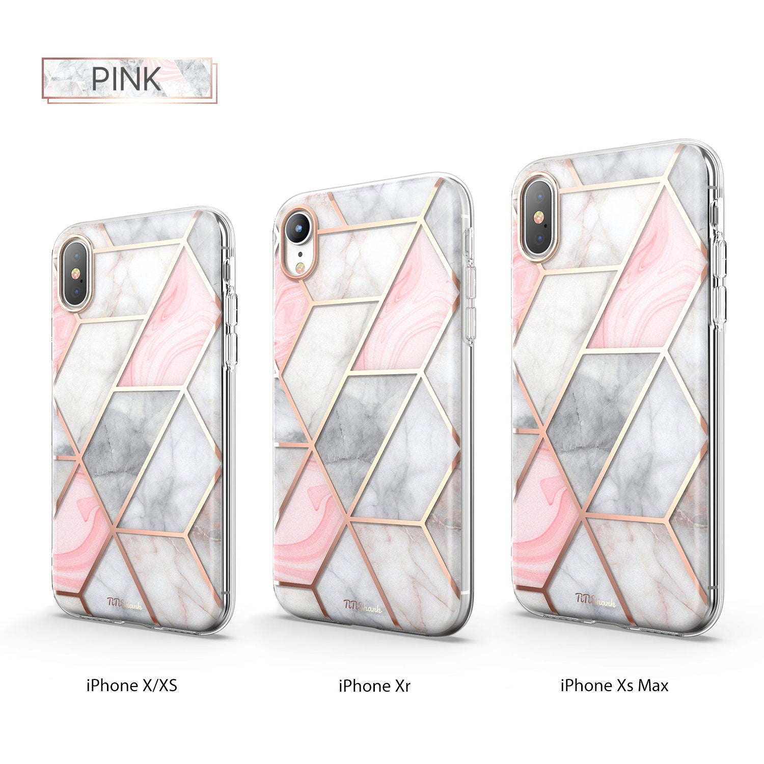 TiTiShark For iPhone X/XS Case Clear Marble Shockproof Case-Pink