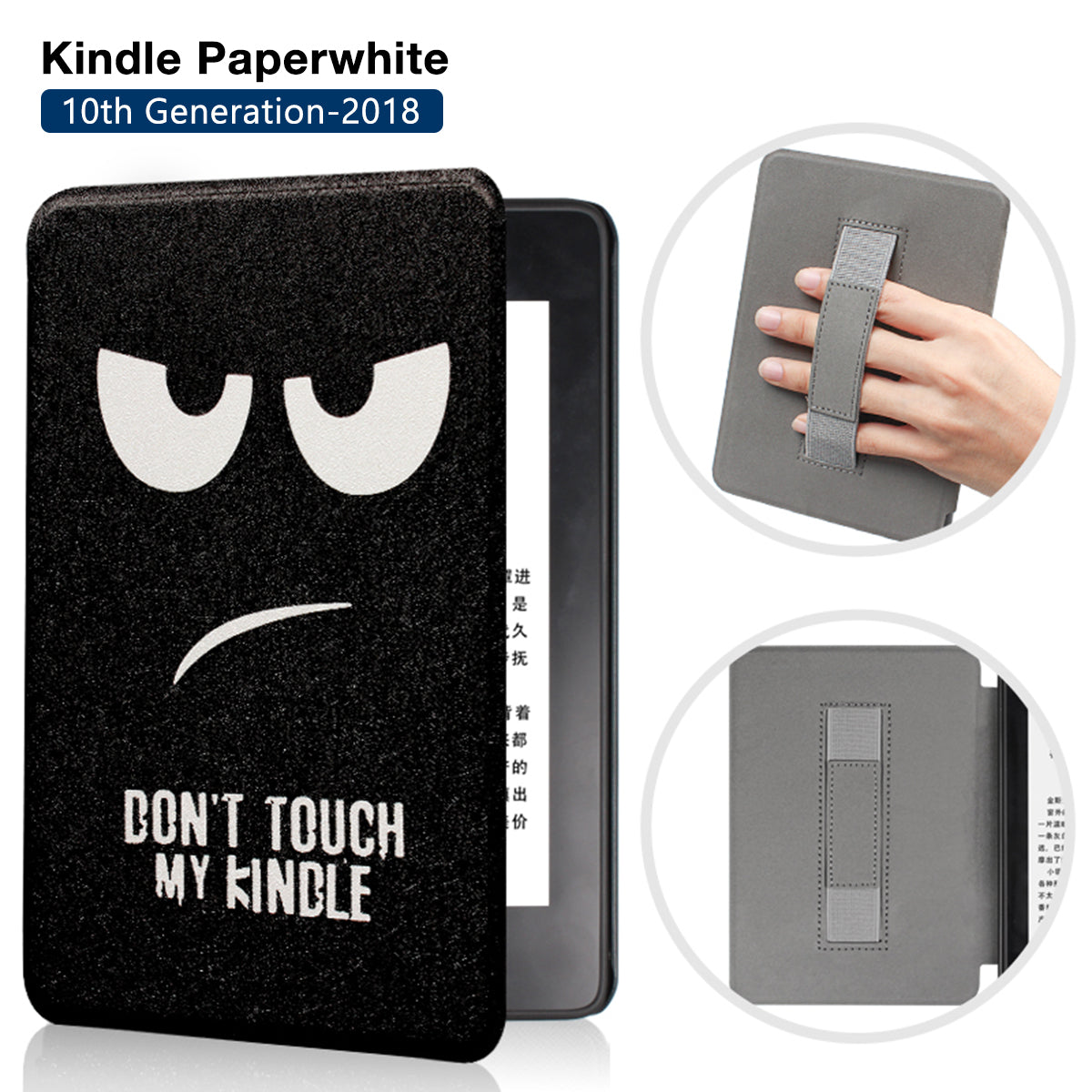 Premium Quality Colorful Painting Leather Cover for Amazon Kindle Paperwhite 10th Generation-2018 with Hand Strap- Big Eyes