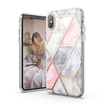 For iPhone XsMAX Case TiTiShark  Clear Marble Shockproof Case-Pink