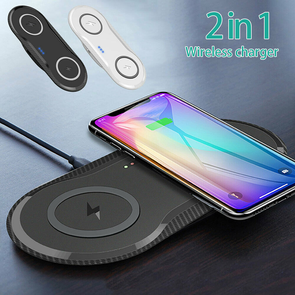 Dual Wireless Charger Phone Fast Charging Pad Mat For iPhone Samsung Galaxy AU For Double 10W-White
