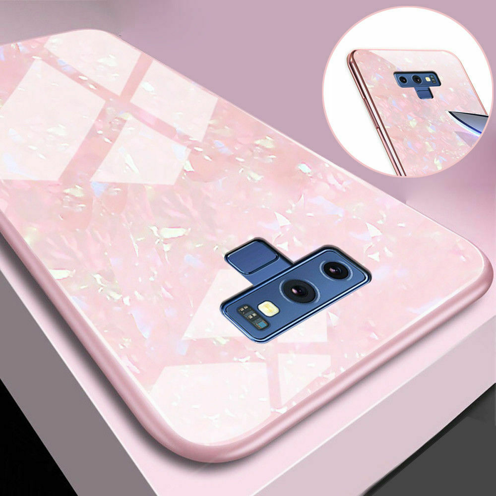 For Samsung S10 Case Luxury Tempered Glass Back Shockproof Cover-Pink