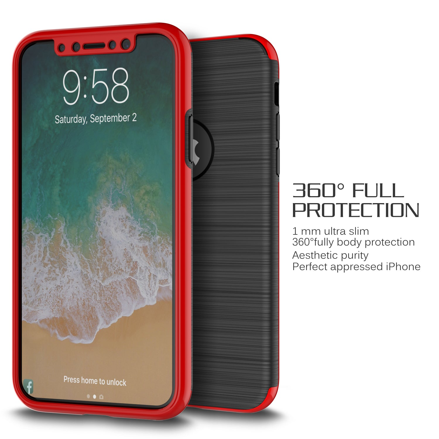 iPhone X Thin Shockproof Full Body Soft Case Cover Wth Tempered Glass