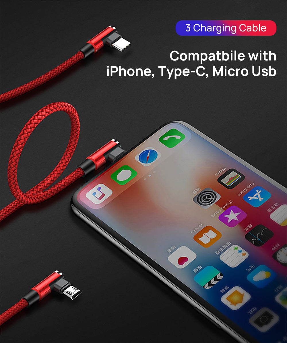 3 in 1 90 Degree Lightning USB Charger Charging Cable Cord For iPhone-Blue