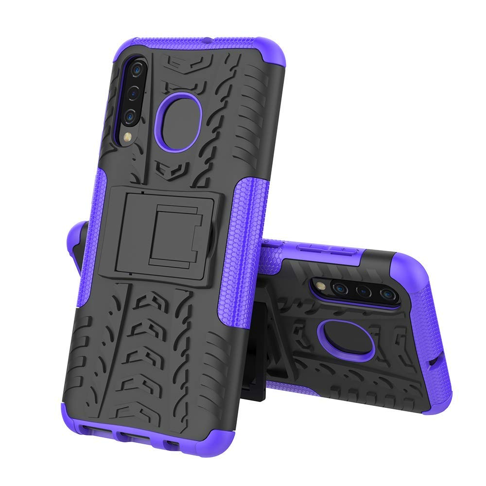 Samsung Galaxy A30 Heavy Duty Tough Shockproof Strong Rugged Anti-Knock Kids Protective Case Cover (Purple)