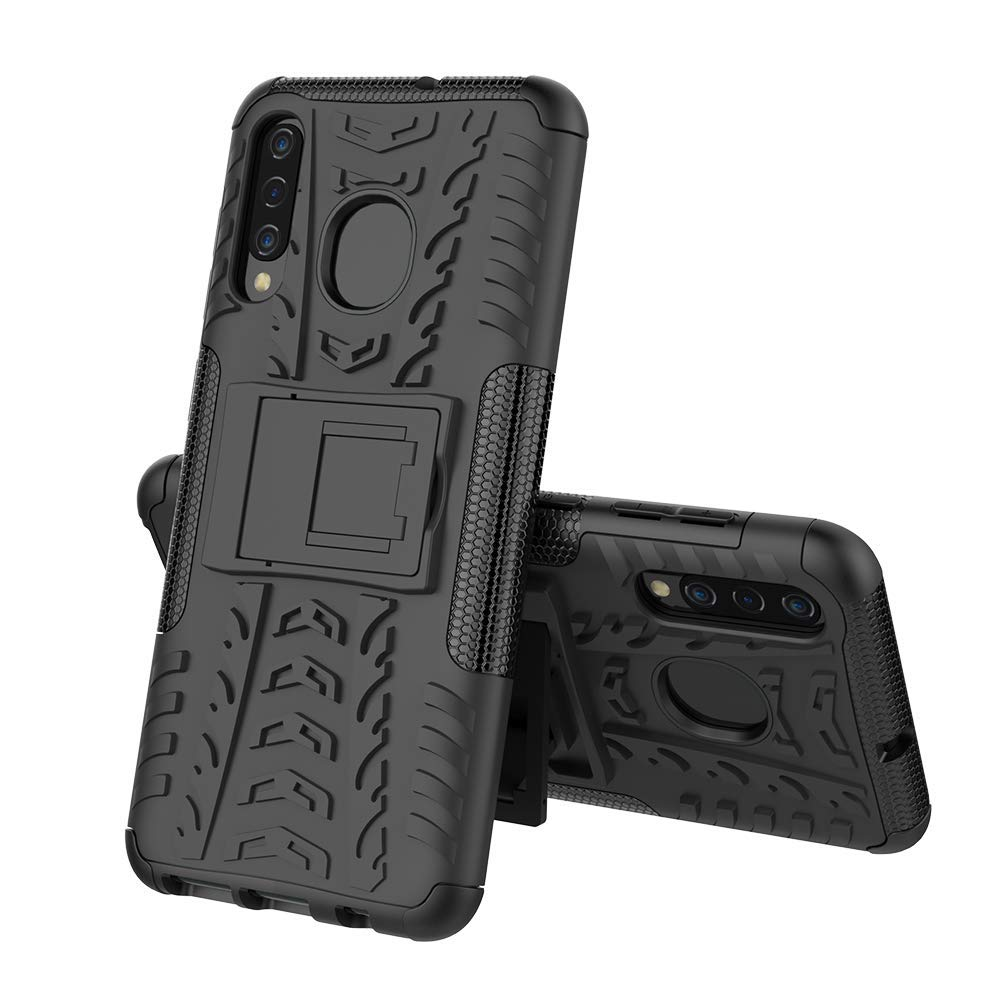 Samsung Galaxy A30 Heavy Duty Tough Shockproof Strong Rugged Anti-Knock Kids Protective Case Cover (Black)