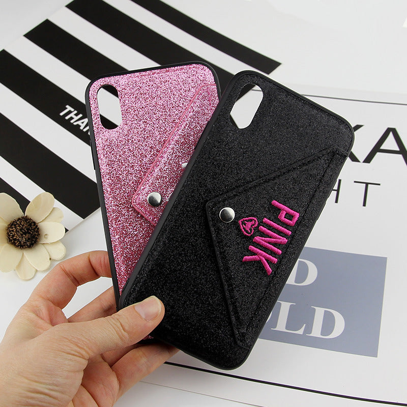 iPhone XR Bling Shockproof Wallet Stand Card Soft Case Cover
