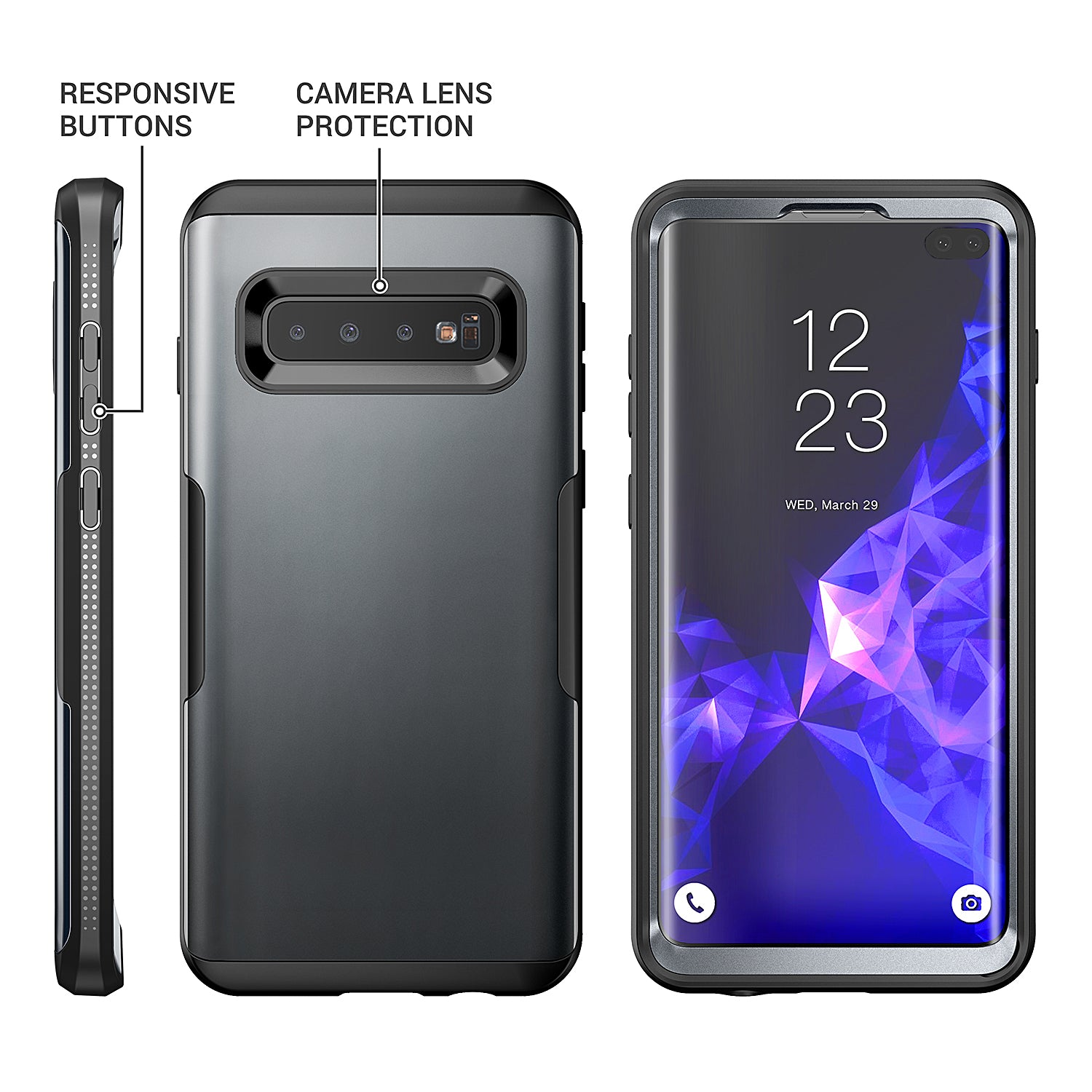 YOUMAKER® Samsung Galaxy S10 Plus  HEAVY DUTY Shockproof Case Cover (Black)