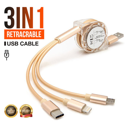 3 in 1 Multi USB Retracrable Charger Cable Cord iPhone USB TYPE C Android Micro