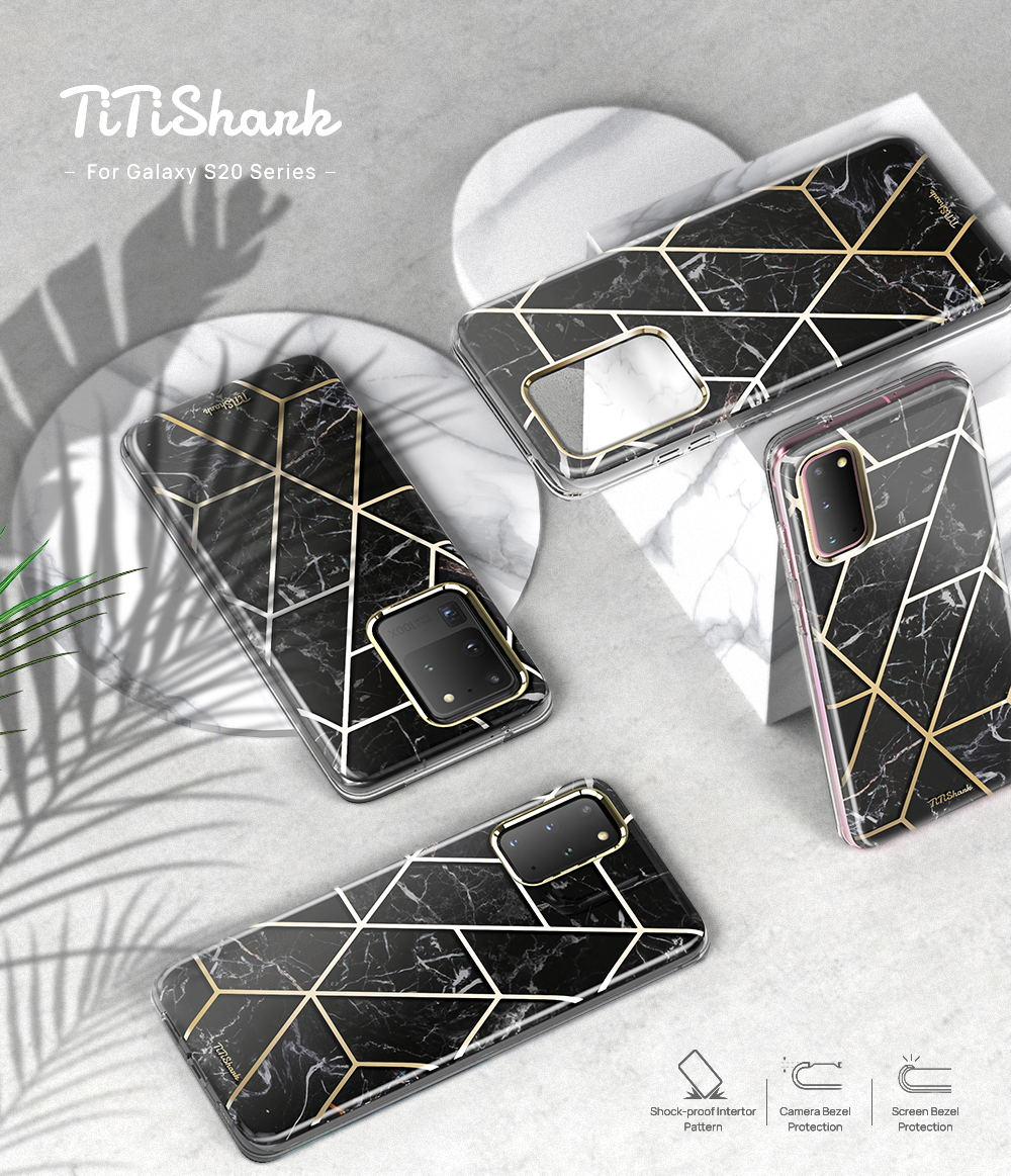 Galaxy S20 Plus Ultra Case TITISHARK Clear Stylish Marble Shockproof Case Cover-Black