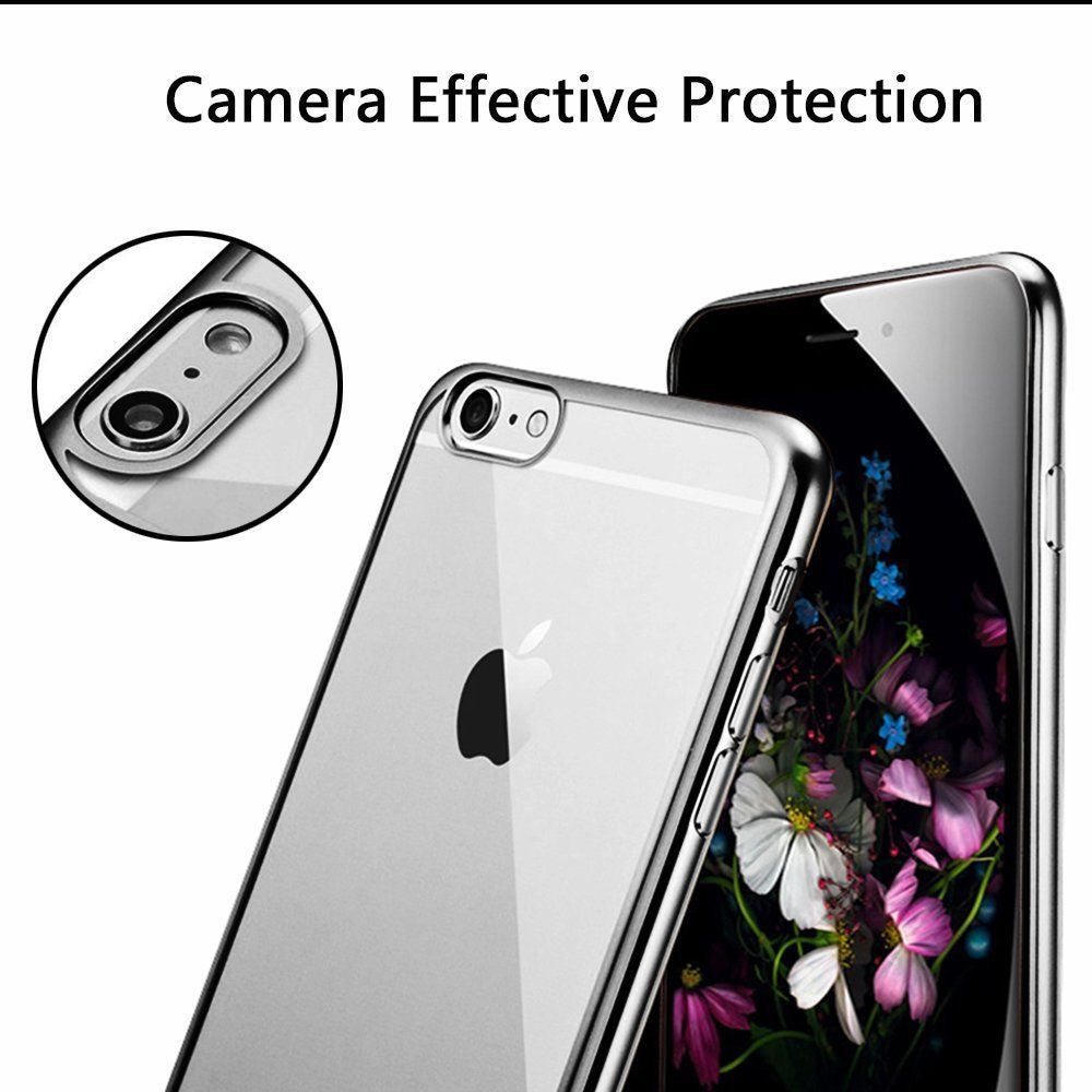 Ultra-Thin Metal Electroplating Soft Silicone Case Cover for iPhone 6/6s, 6/6s Plus