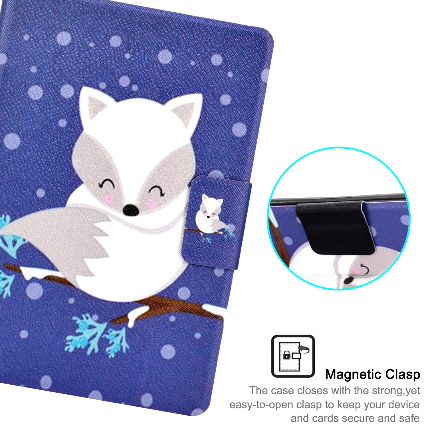 "New Amazon Kindle 2019 10th 6"" Inch Case Smart Flip Leather Back Slim Cover-Cute Fox"
