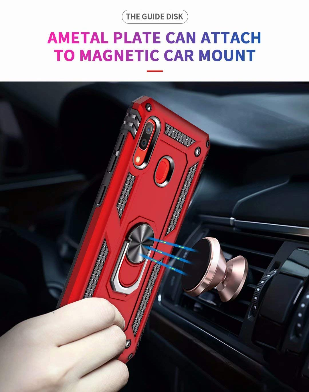 Samsung Galaxy A70 Anti Scratch Rugged Magnetic Car Mount Ring Case Heavy Duty Case Cover (Red)