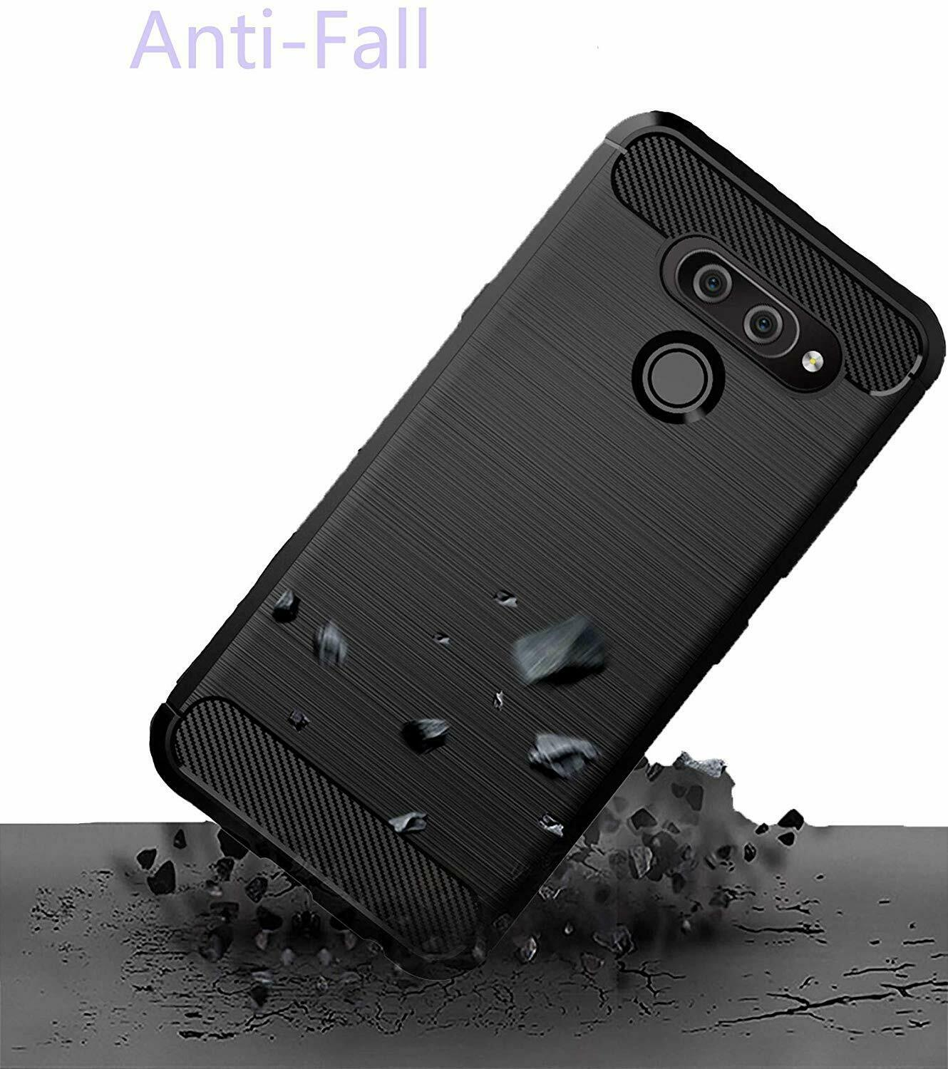 For LG K50  Slim Shockproof Carbon Fibre Gel Phone Case +Screen Protector