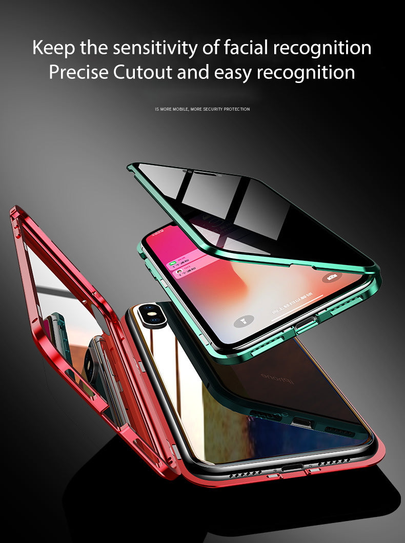 iPhone 7  Case Magnetic Metal Anti Spy Tempered Glass Cover