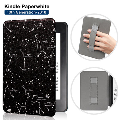 Premium Quality Colorful Painting Leather Cover for Amazon Kindle Paperwhite 10th Generation-2018 with Hand Strap-Constellations