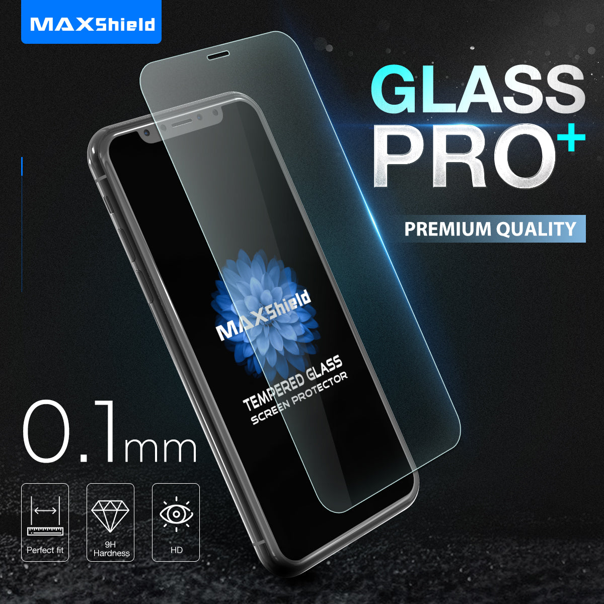 For iPhone 8 Plus,  Maxshield 0.1mm soft flexible  9H Tempered Glass Screen Protector