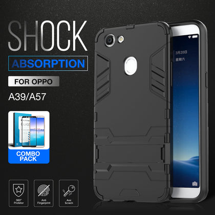 OPPO A57 Case,Soft TPU 2 in 1 Hybrid Shockproof Stand Rugged Bumper Cover