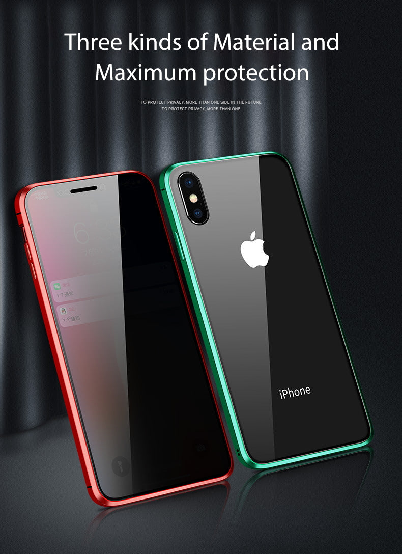 iPhone 8 Case Magnetic Metal Anti Spy Tempered Glass Cover