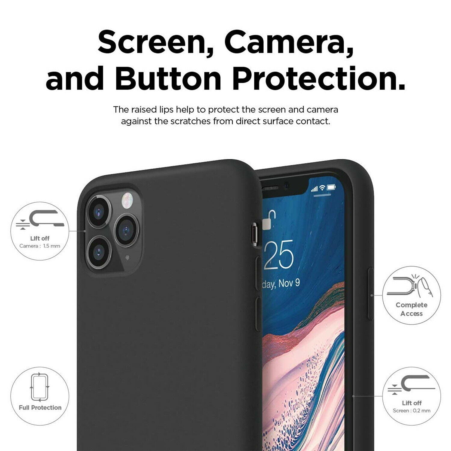 iPhone 11 Pro Case MAXSHIELD Thin Soft Silicone Shockproof Cover for apple