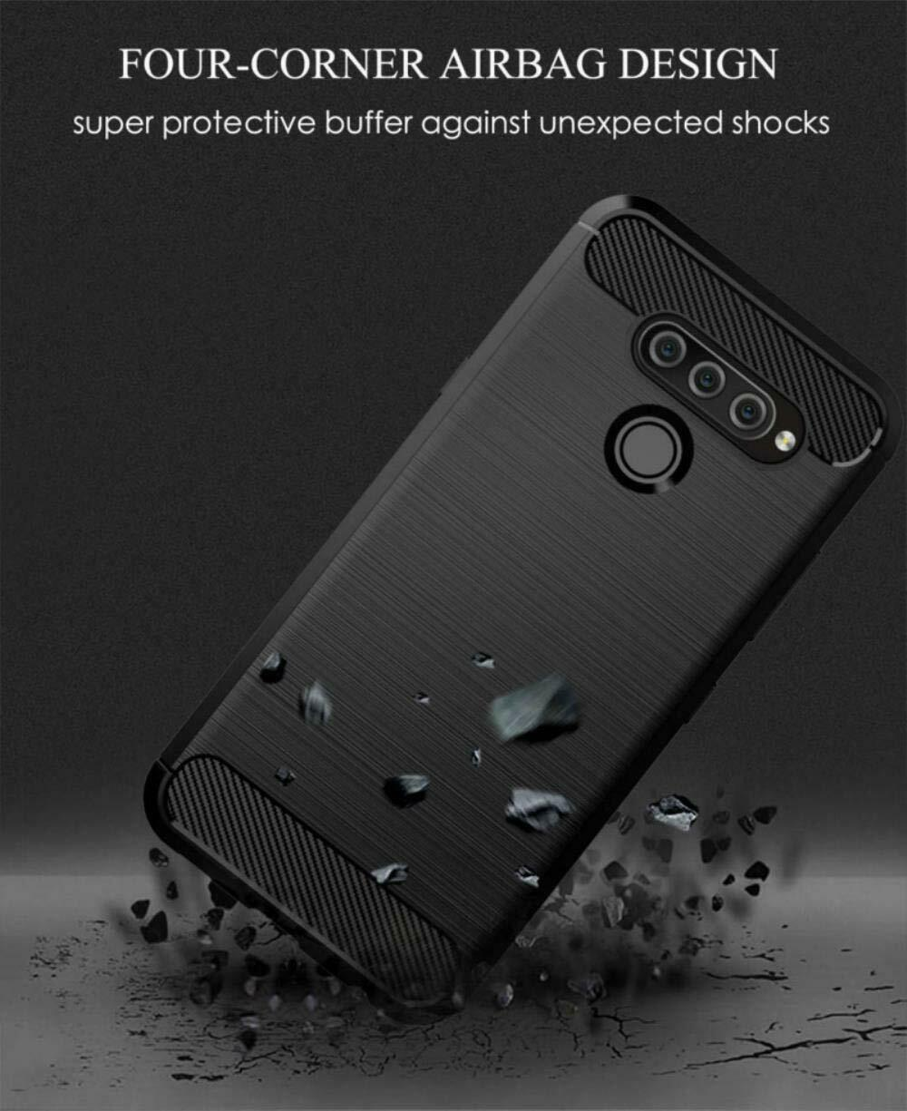 For LG Q60  Slim Shockproof Carbon Fibre Gel Phone Case +Screen Protector