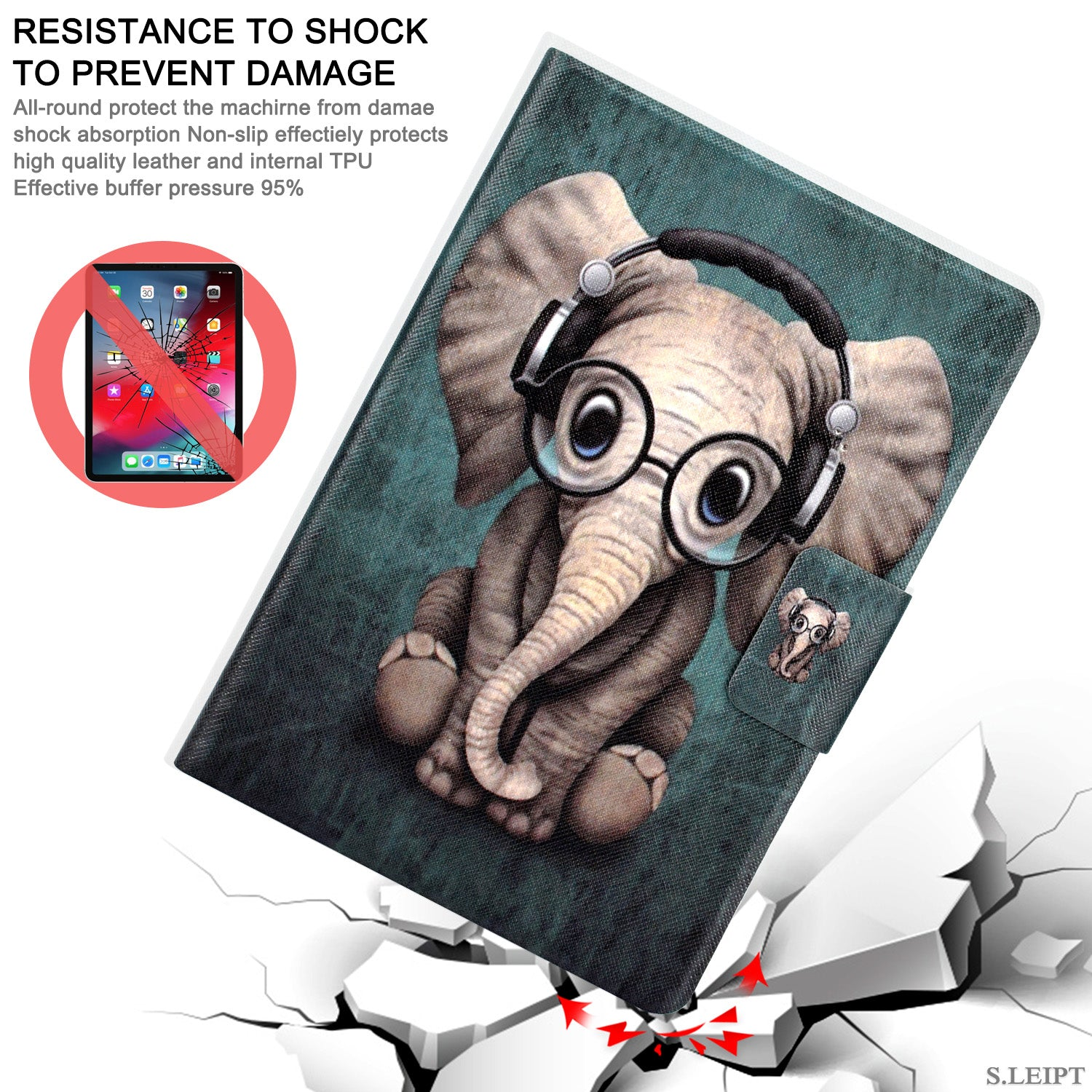 "New Amazon Kindle 2019 10th 6"" Inch Case Smart Flip Leather Back Slim Cover-Elephant"