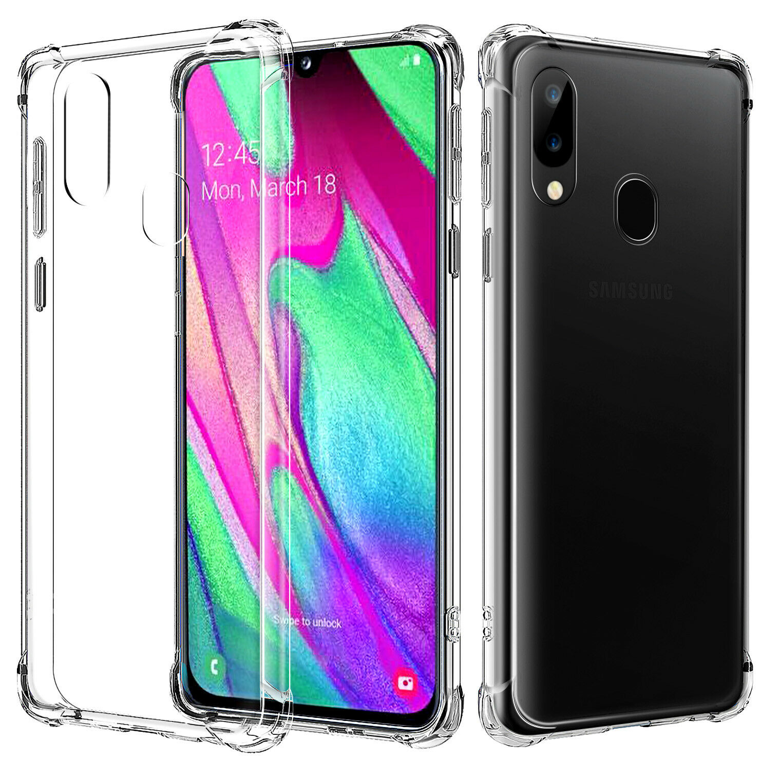 Samsung Galaxy A30 Clear Case Shockproof Gel Heavy Duty Tough Cover