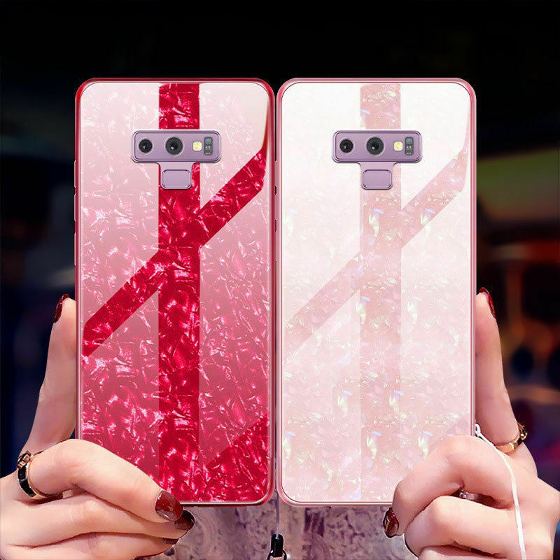 For Samsung Note 9 Case Luxury Tempered Glass Back Shockproof Cover-White