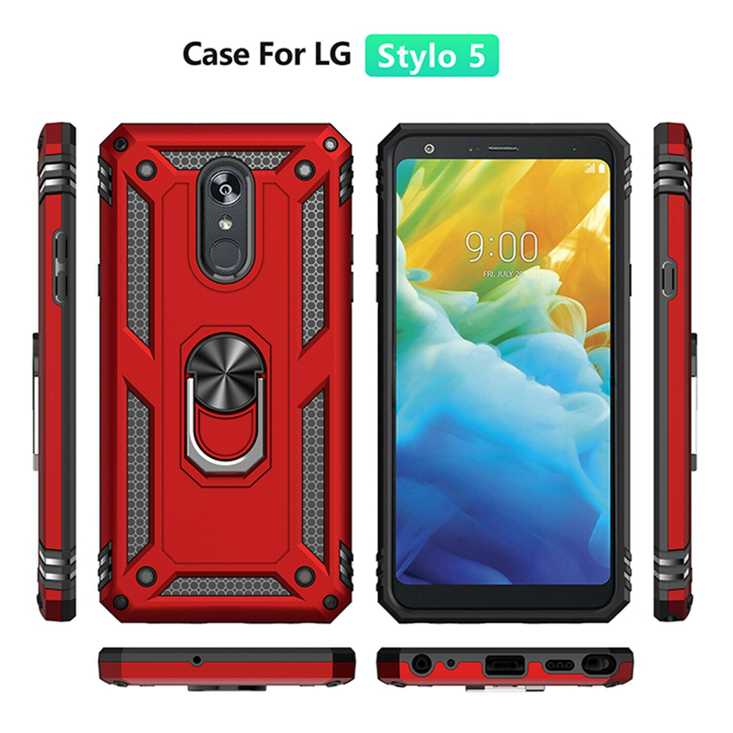 For LG Q60 Case Magnetic Hybrid Ring Holder Armor Rugged Cover