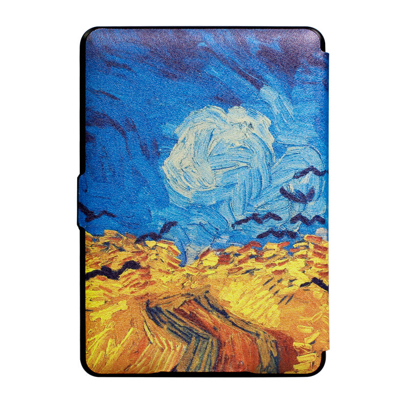 Premium Quality Colorful Painting Leather Cover for Amazon Kindle Paperwhite 10th Generation-2018-Crow Wheat Field