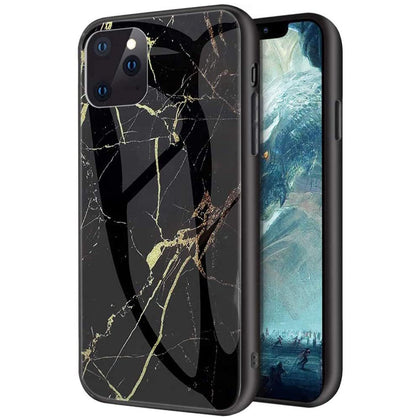For iPhone 12 Pro Case Shockproof Glass Marble Soft Tough Cover-Black