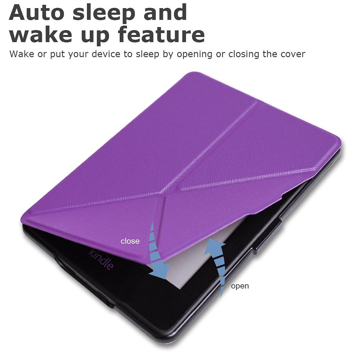 Purple Origami Magnetic PU Leather Case Cover for Amazon Kindle 8th Gen 2016