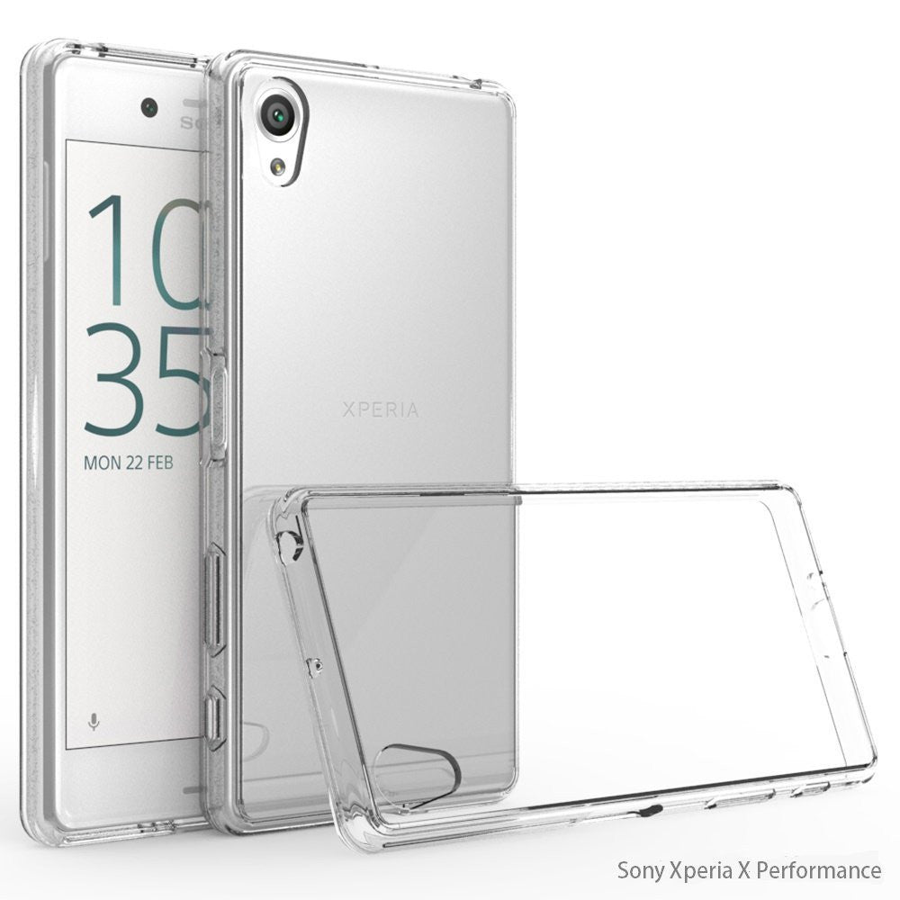 Crystal Clear Acrylic Plastic Back Panel and TPU Frame Stylish Phone Case for Sony Xperia X Performance