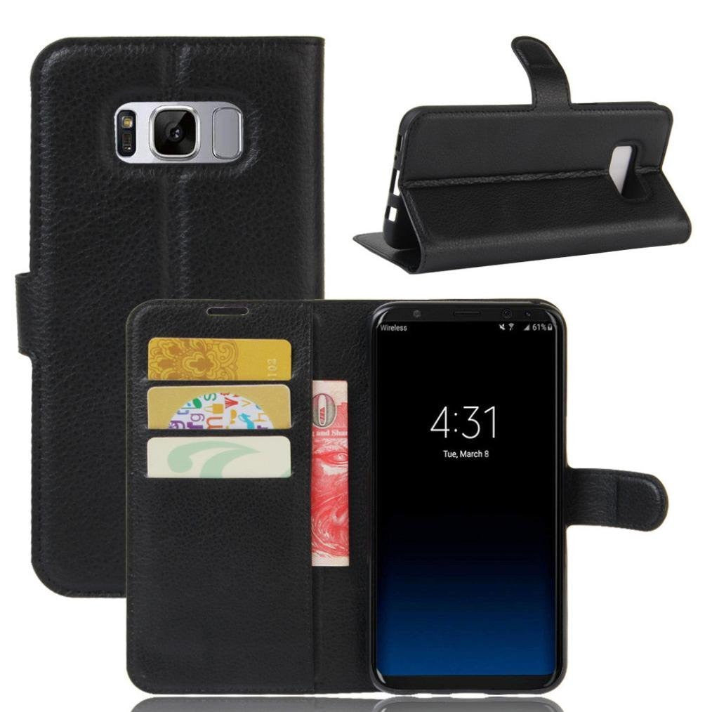 Black Flip Magnetic Leather WALLET Stand Case Cover for Samsung Galaxy S8 Plus