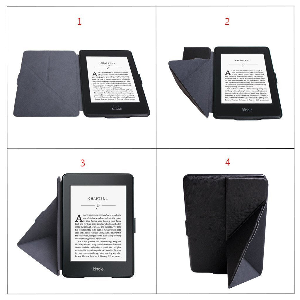 Origami Magnetic PU Leather Case Cover for Amazon Kindle Voyage - Black