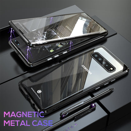 For Galaxy S10 Magnetic Metal Tempered Glass Case Cover-Black, White, Red