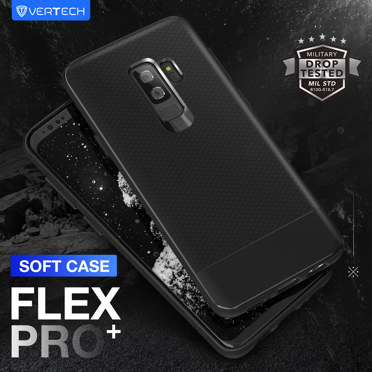 Galaxy S9 Plus Case, Vertech [FlexPro+ Series]  Slim Protective Shock Absorbing TPU Rugged Protection Textured Grip Black and Easy Grip Design for Samsung